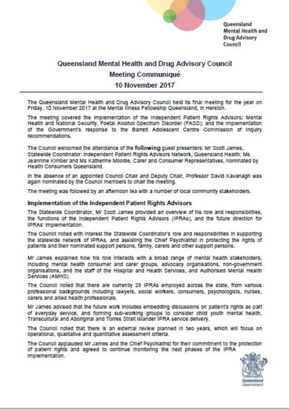 Council Meeting Communique 10 November 2017