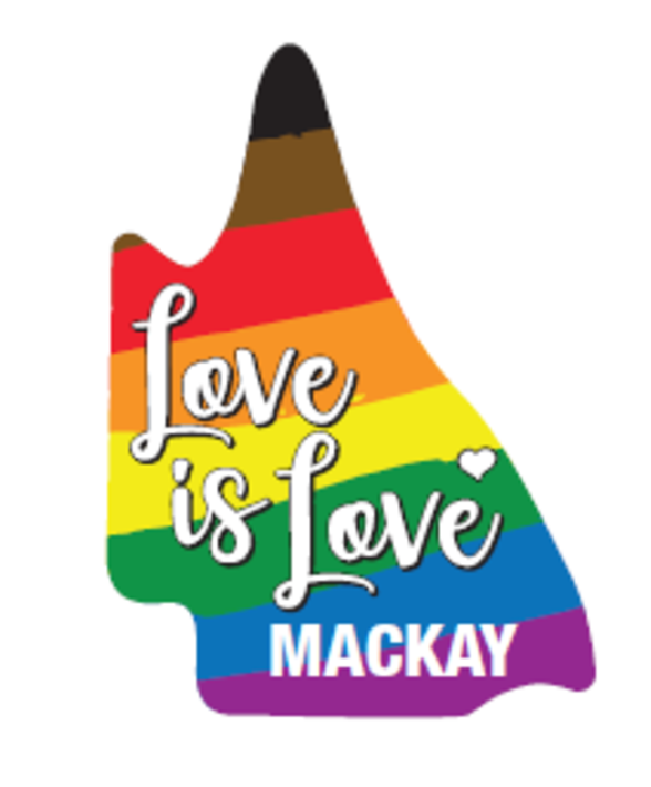 """The Queensland state coloured in rainbow with the words """"love is love""""."""