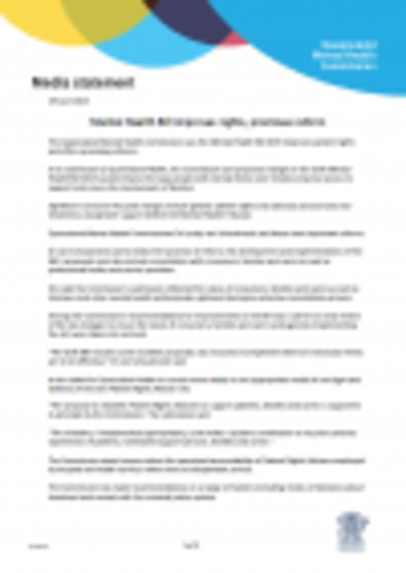 READ MEDIA STATEMENT_QMHC Mental Health Bill submission