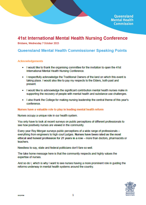 SPEECH_41st Mental Health Nurses Conference 2015_PIC