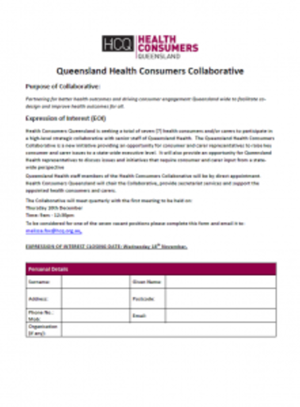 Pic_HCQ EOI Form_Queensland Health Consumers Collaborative