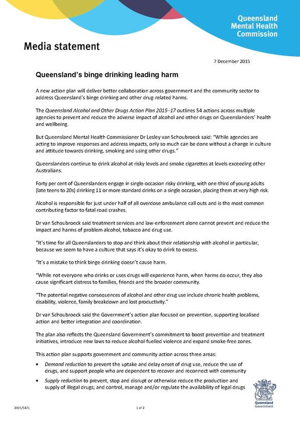 Queensland's binge drinking leading harm | Queensland Mental Health