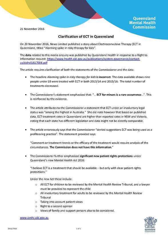 Clarification of ECT in Queensland | Queensland Mental ...