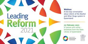 A graphic of the commission logo with the text Leading Reform on top.