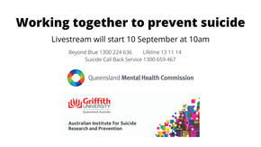 Image with the QMHC logo and text reading: The livestream event will start at 10am on 10 September.