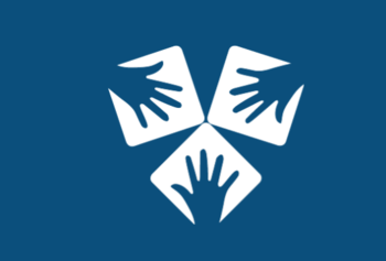 White hands on blue background, logo of ANZ Addiction Conference