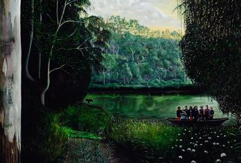 Anne Wallace painting extract Passing the River at Woogaroo Reach