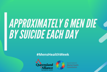 A green square with the text: approximately six men die by suicide each day.