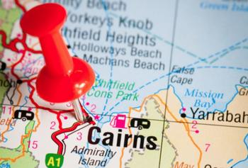 Map showing Cairns and surrounding area
