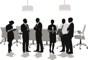 Graphic art image of board members standing and talking to each other with board table in background