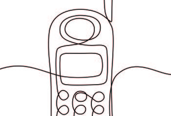 A line drawing of a mobile phone