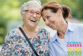 Image of two carers smiling for National Carers Week 2020