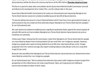 MEDIA RELEASE_Thursday Island consultation on Aboriginal and Torres Strait Islander mental health and wellbeing_PIC