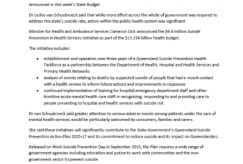 PIC_Media Release_Budget initiatives on suicide prevention
