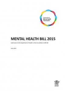 QMHC Mental Health Bill submission 2015
