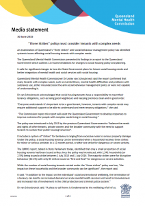 Media Release Three strikes policy must consider tenants with complex needs