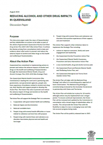 PIC Discussion Paper Reducing alcohol and other drug impacts in Queensland