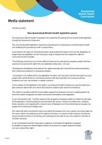 QMHC Media Release: New Queensland mental health legislation passes